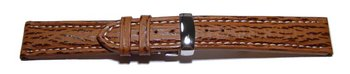 Watch strap - Genuine Shark leather - padded - brown